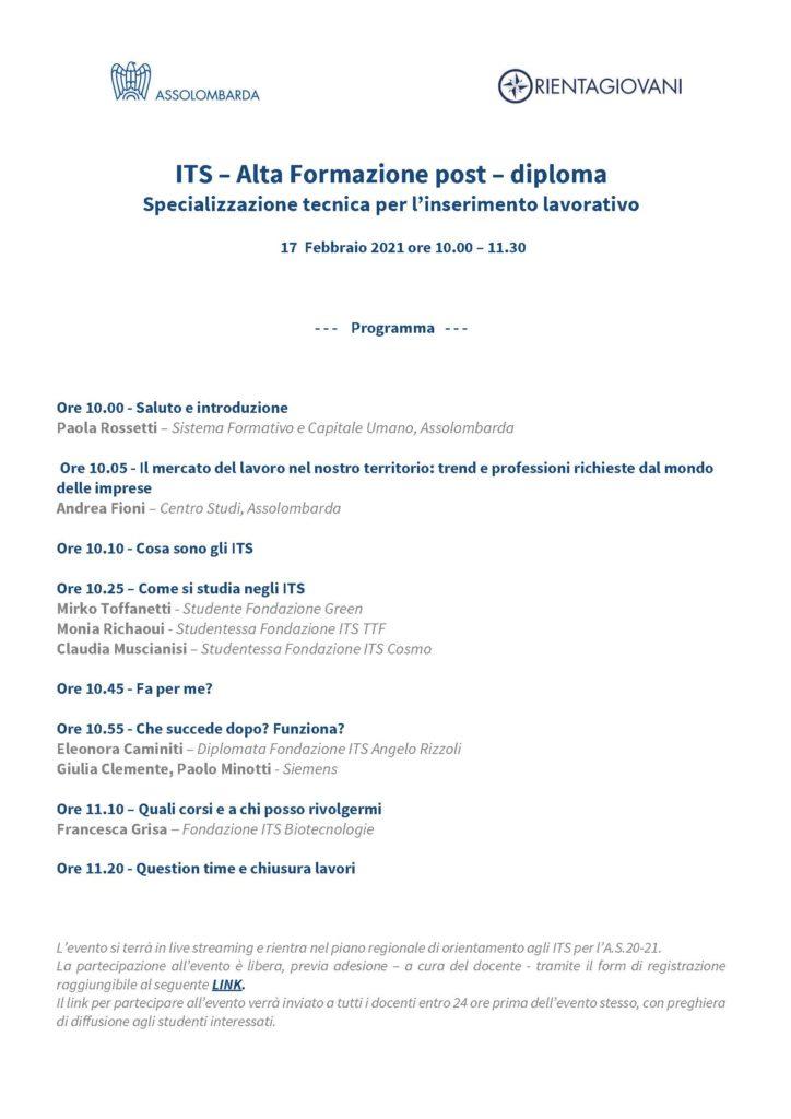 Orientamento ITS: l'evento di Rete Prisma e Assolombarda